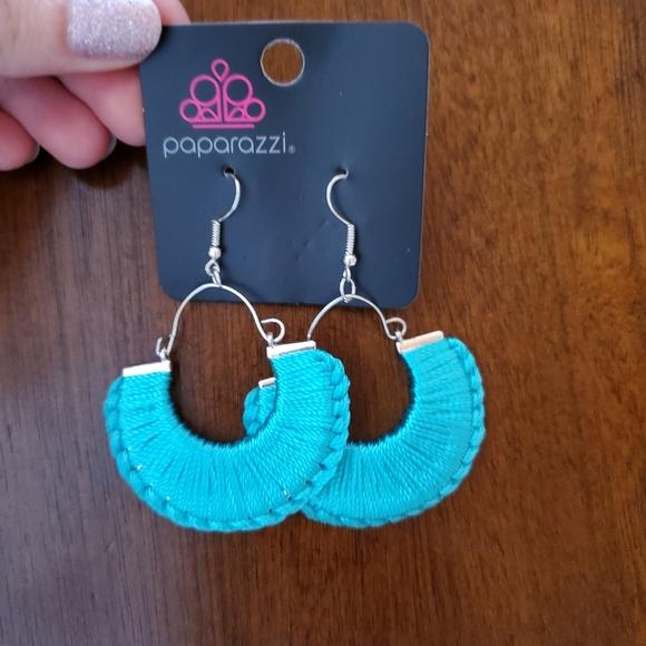 Blue yarn earrings